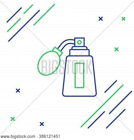 Line Aftershave Bottle With Atomizer Icon Isolated On White Background. Cologne Spray Icon. Male Per
