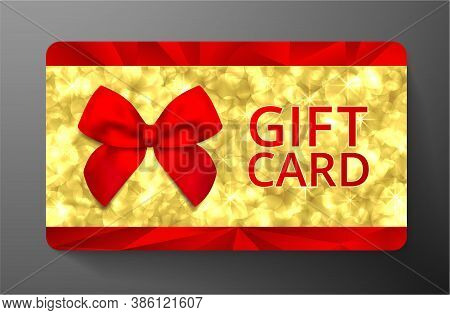 Golden Card With Red Bow And Gold Circles (sparkles Bokeh Pattern) - Luxurious Holiday Design. Premi