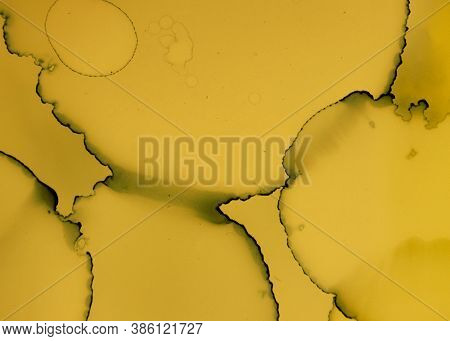 Black And Yellow Abstract Acrylic Pattern. Gold Fluid Background. Watercolor Liquid Canvas. Grunge I