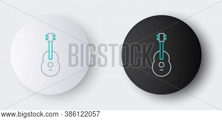 Line Guitar Icon Isolated On Grey Background. Acoustic Guitar. String Musical Instrument. Colorful O