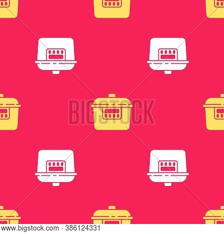 Yellow Slow Cooker Icon Isolated Seamless Pattern On Red Background. Electric Pan. Vector