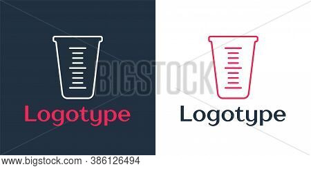Logotype Line Measuring Cup To Measure Dry And Liquid Food Icon Isolated On White Background. Plasti