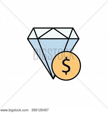 Diamond, Dollar Icon. Element Of Finance Illustration. Signs And Symbols Icon Can Be Used For Web, L