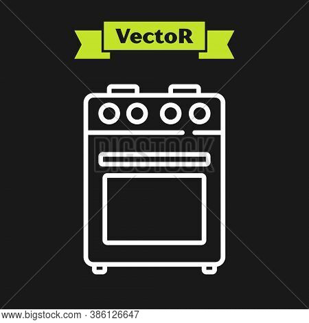 White Line Oven Icon Isolated On Black Background. Stove Gas Oven Sign. Vector