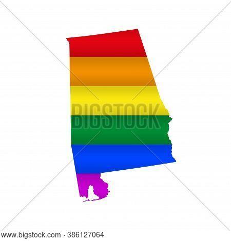 Alabama Lgbt Flag Map. Vector Illustration. Slightly Wavy Rainbow Gay Pride Flag Map.