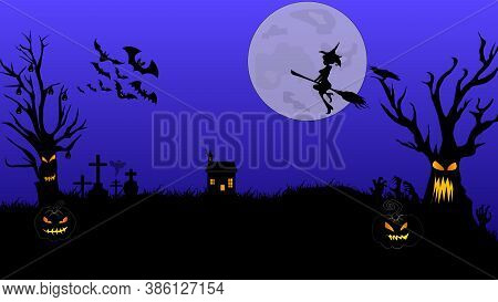 Halloween Pumpkins And Castle Illustration. Halloween Night Celebration. Style Composition Backgroun