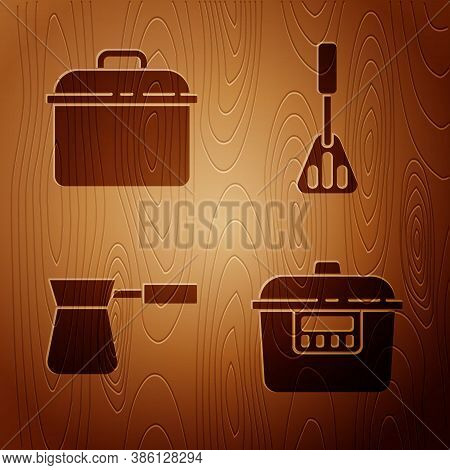 Set Slow Cooker, Cooking Pot, Coffee Turk And Spatula On Wooden Background. Vector