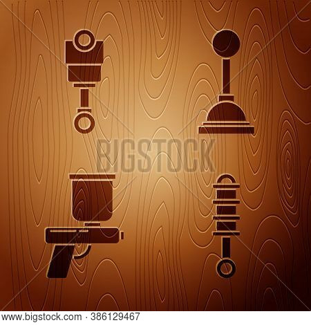 Set Shock Absorber, Engine Piston, Paint Spray Gun And Gear Shifter On Wooden Background. Vector