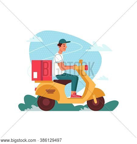 Delivery Courier On Scooter Moped With Parcel, Delivering Express Order, Flat Cartoon Isolated. Cour