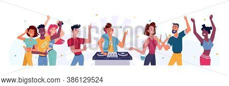 Set Of People Dancing At Party And Dj. Man At Turntable Near Happy Person At Birthday Or Holiday Cel