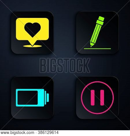 Set Pause Button, Like And Heart, Battery Charge Level Indicator And Pencil With Eraser. Black Squar