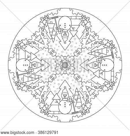 Christmas Mandala. Coloring Page Christmas Theme. Snowman And Tree. Snow Falling. Vector Illustratio