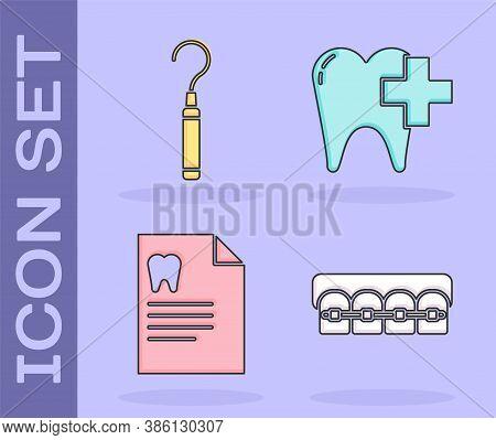 Set Teeth With Braces, Dental Explorer Scaler For Teeth, Clipboard With Dental Card And Dental Clini