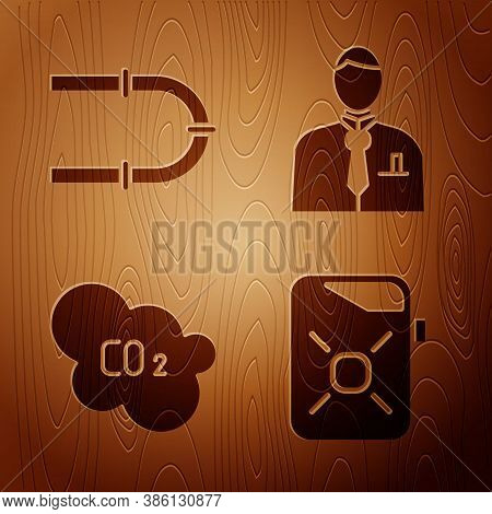 Set Canister For Motor Oil, Industry Pipe, Co2 Emissions In Cloud And Businessman Or Stock Market Tr