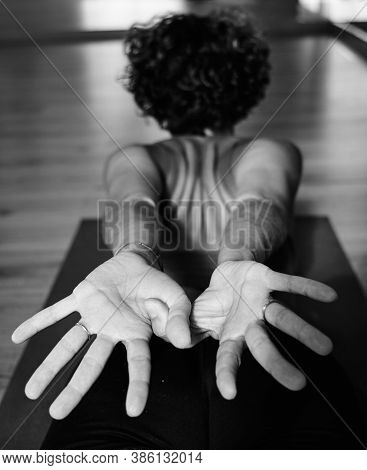 Yoga Iyengar Pose From The Back, Thumbs Crossed, Black And White