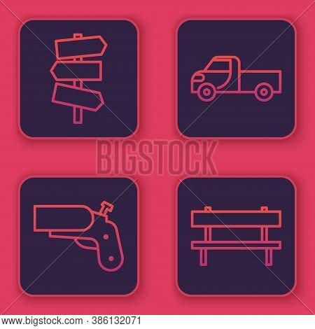 Set Line Road Traffic Signpost, Flare Gun Pistol, Pickup Truck And Bench. Blue Square Button. Vector