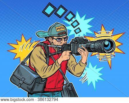Photographer Reporter Illustration. Job People. News Report. Pop Art Retro Vector Illustration Kitsc