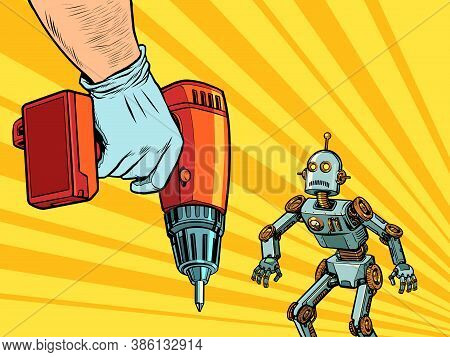 Repair Of Robotics Concept. The Robot And The Drill. Pop Art Retro Vector Illustration Kitsch Vintag