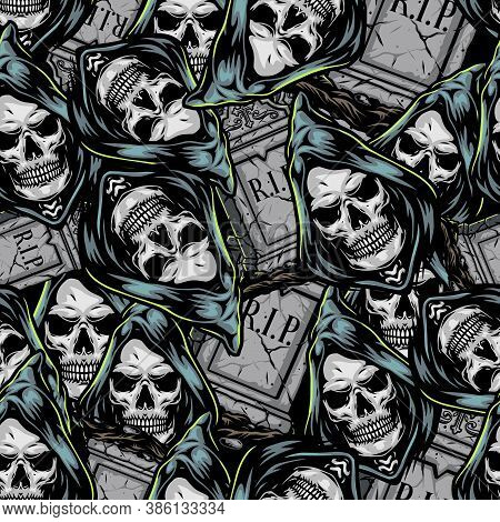 Halloween Vintage Elements Seamless Pattern With Grim Reaper Heads In Hood And Gray Gravestones Vect