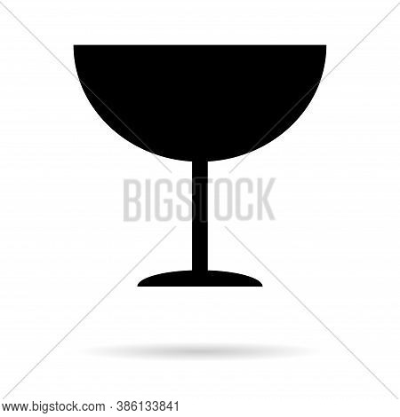 Fragile Flat Icon With Shadow Isolated On White Background. Fragile Package Symbol. Label Vector Ill