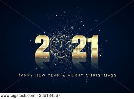 Golden Clock Dial With Numbers 2021 On Magic Christmas Background. New Year Countdown And Chimes. Fi