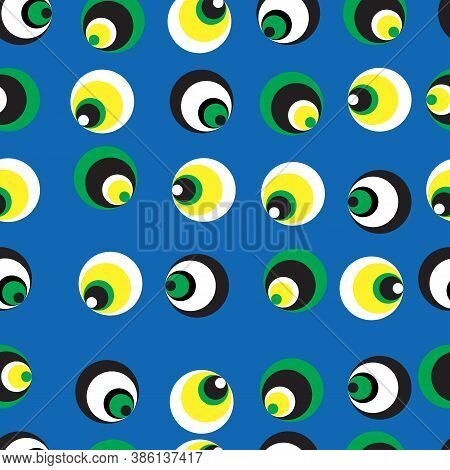 Seamless Pattern With Concentric Circles On Blue Backdrop. Vector Background