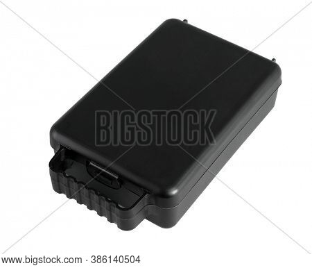 Black Plastic Storage Box for Do It Yourself Tools on White Background