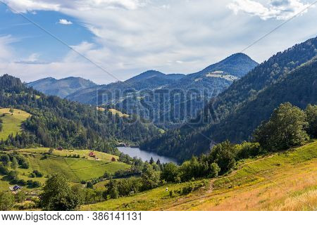 Landscape View Of The River Beli Rzav , And Spajici Lake From The Height In Tara National Park In Se