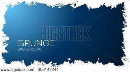Grunge Background. Gradient Blue Background With Frayed Edges. Grunge Flyer, Business Card, Postcard