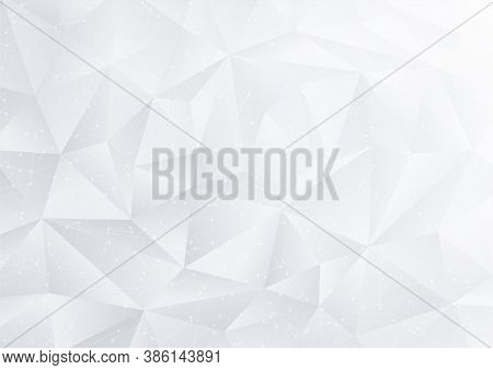Abstract Polygon White Background With Geometric Poly Pattern (silver Triangle Shape Texture) And Cu