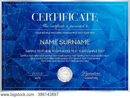 Certificate Template With Geometric Poly Pattern (triangle Shape Texture) And Curved Digital Lines.