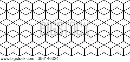 Seamless Hexagonal Grid Pattern. Vector Background Hexaganal Cube Elements. Modern Simple Grid.