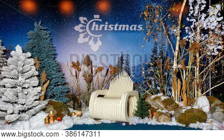 Beautiful Panoramic Composition Of New Year's Eve Christmas Evening With Artificial Trees, Snow, Bou
