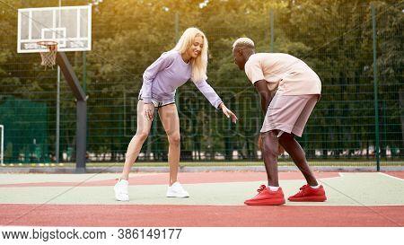 Basketball Afro American Man Friends Training Caucasian Woman Multiracial Friendship Afro Guy Instru
