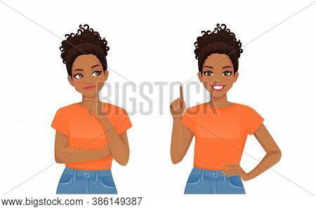 Cute African Young Woman Thinking Looking Away And Making Idea Pointing Up Isolated On White Backgro