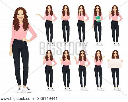 Young Woman With Long Hair In Casual Style Clothes Set Different Gestures Isolated Vector Iilustrati