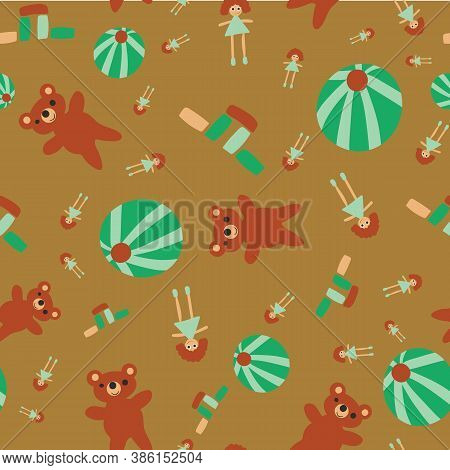 Scattered Toys Seamless Vector Pattern. Childish Surface Print Design For Fabrics, Stationery, Scrap