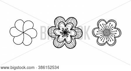 Hibiscus And Hawaiian Flowers In The Set. Thin Line Black Hibiscus Icon, Flat Vector Simple Element