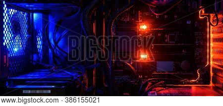 Computer With Circuit Board And Internal Led Rgb Lights, Hardware Inside Open High Performance Deskt