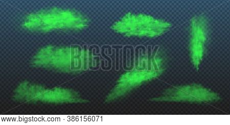 Green Toxic Smokes Set. Vector Realistic Illustration Of Stink Poison Clouds, Looking Like Fart, Che