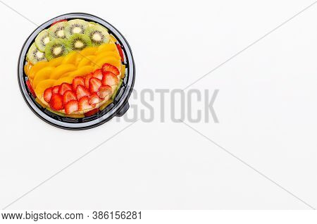 Beautiful Homemade Flan Decorated With Colorful Fruits. Isolated, Cut Out On White Background.
