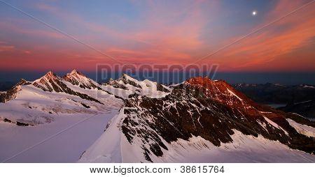 Sunset light over Schreckhorn Peak, Switzerland - UNESCO Heritage
