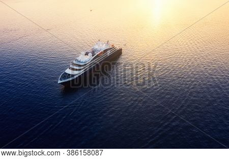 Aerial View On Cruise Ship During Sunset. Adventure And Travel. Landscape With Cruise Liner On Medit
