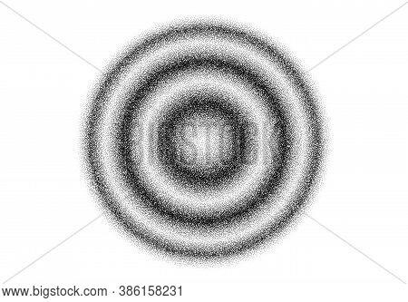 Dotwork Splash Ripple Waves Pattern Vector Background. Sand Grain Effect. Black Noise Stipple Dots.
