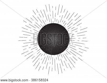 Vintage Sunburst Vector Badge. Hand Drawn Retro Starburst Element. Linear Sun Rays Design. Abstract