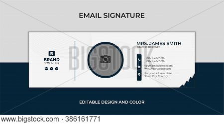 Email signature template design. Creative Business Email Signature Vector Banner Design. Individual text web mailing interface individualize signature forms vector template. Illustration of profile contact ui, emailing user card