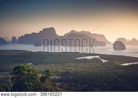 Nature Landscape Scenery Of Tropical Seascape Thailand At Morning Sunrise, Aerial View Of Sea Archip