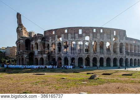 View Of Colosseum In Rome And Morning Sun, Italy, Europe