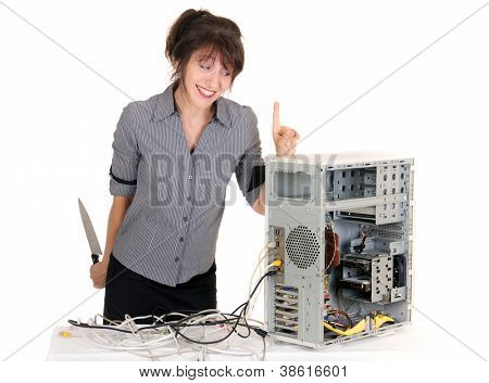 business woman warn her computer before killing it !
