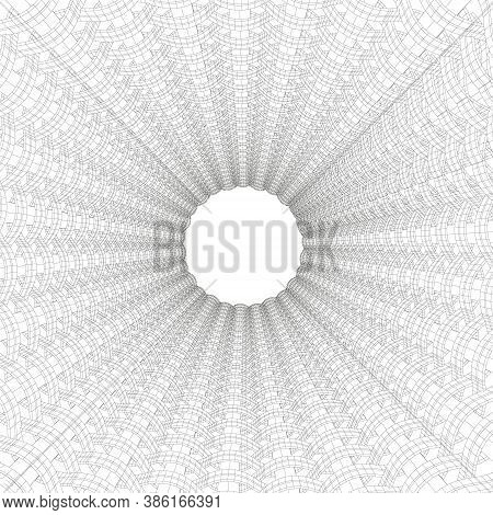 Wireframe Of An Abstract Tunnel Made Of Black Lines On A White Background. 3d. Vector Illustration